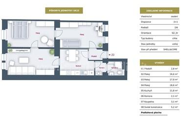 Wohnung zu verkaufen 3 Zimmer + Shell & Core, 80 m², Sokolovská 198/541, Praha 8 - Libeň